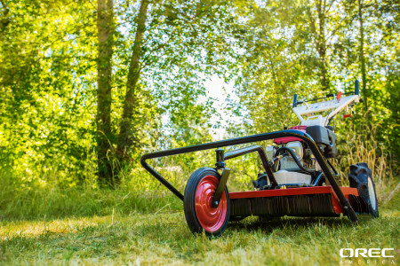 Orec's Samurai Walk Behind Brush Cutter is the best rotary brush cutter when you want to mow underneath trees.