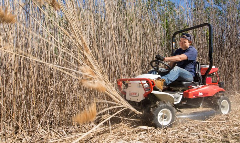mowing tall field